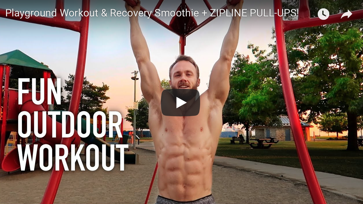 Playground Workout & Recovery Smoothie + ZIPLINE PULL-UPS! | VeganFlix