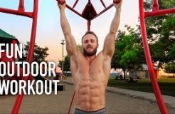 Playground Workout & Recovery Smoothie + ZIPLINE PULL-UPS!
